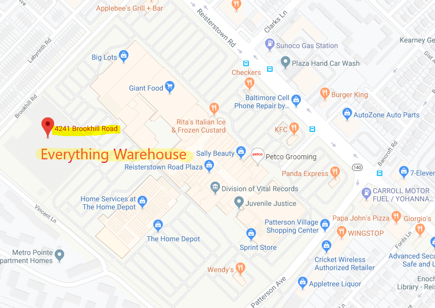 Everything Warehouse new location map